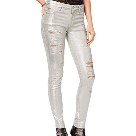 elegant appearance best authentic beautiful style New GUESS Sexy Curve metallic skinny ripped jeans NWT